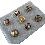 "A Card of 7 Antique Victorian Metal Buttons with Mother of Pearl Inlay & Cut Steel Embellishments 1/2"" to 9/16"""