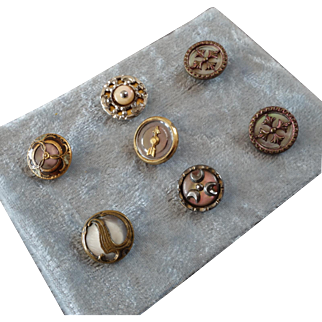 """A Card of 7 Antique Victorian Metal Buttons with Mother of Pearl Inlay & Cut Steel Embellishments 1/2"""" to 9/16"""""""