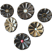 A Set of Six Antique Victorian Metal Daisy Buttons - up to 1 5/16""