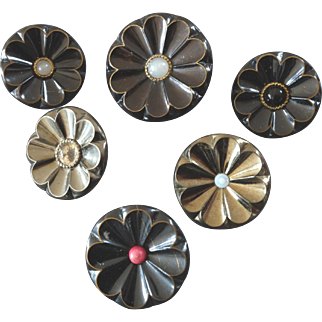 """A Set of Six Antique Victorian Metal Daisy Buttons - up to 1 5/16"""""""
