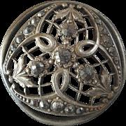 """X-Large Antique Victorian Openwork Metal Cut Steel Button - just under 2"""""""