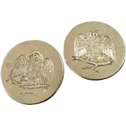 A Pair of Large Antique Victorian Metal Picture Lapel Stud Buttons Engraved Owls 1 9/16""