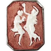 Antique Victorian Porcelain Metal Button 2 Dancers from Greek Mythology 1""