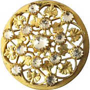 Antique Victorian Gilded Openwork Metal Button with Rose Cut Foiled Paste Diamonds 1 1/16""