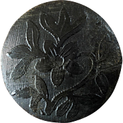 """Antique Victorian Pressed and Dyed Black Horn Button Wild Narcissus Signed on Back 1 3/16"""""""