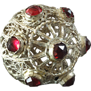 """Antique Silver Plated Filigree Metal Red Paste Ball Button Early 19th Century 15/16"""""""