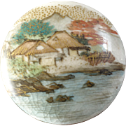 "Japanese Satsuma Ceramic Button Mount Fuji Landscape Trees Houses Lake 1 1/8"""