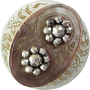 """Antique Victorian Cameo Carved Engraved Gilded Mother of Pearl Cut Steel Button 1 1/16"""""""