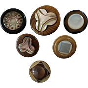 """Six Antique Victorian Vegetable Ivory (Tagua) Buttons with Mother of Pearl Inlay - up to 1 1/16"""""""