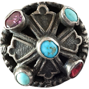 Antique Georgian Austro-Hungarian Turquoise Garnet Silver (lower than sterling) Jewel Button 11/16""