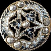 "Antique Victorian Enamel Cut Steel Openwork Metal Button Black & White 1 1/16"" - shows light wear"