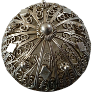 """Large Antique Silver Plated Filigree Metal Button Traditional Costume - just under 1 1/4"""""""