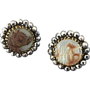 """Two Antique Cameo Carved Mother of Pearl Buttons set in Cut Steel Dog Bulldog Woman House 11/16"""""""