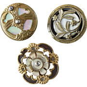 """Three Antique Victorian Metal Buttons with Mother of Pearl Inlay 7/8"""" to 15/16"""""""