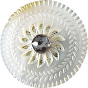 """Large Antique Georgian Carved Foiled Mother of Pearl Paste Button 1 7/16"""" - Tiny Chip"""