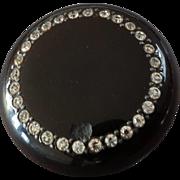 """Large Antique Victorian Pique Horn Paste Button Signed 2 1/16"""""""