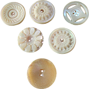 """Five Antique Victorian Carved Mother of Pearl Buttons, 1 Vintage, 1 1/16"""""""