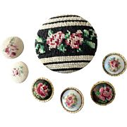 "Seven Petit Point Hand Stitched Tapestry Needlework Gobelin Buttons Roses - up to 2""  Passementerie"
