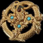 """Antique Art Nouveau Turquoise Paste Gilded Metal Button Snake Serpent Flowers 1 1/8"""""""