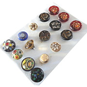 """A Card of 16 Antique and Vintage Glass Buttons Art Nouveau , Jewels 3/8"""" to 9/16"""""""