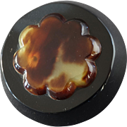 """A Large Chunky Art Deco Button with stylized Flower Application 1 5/8"""""""