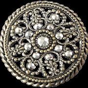 "Large Antique Victorian Openwork Metal Cut Steel Button Fine Filigree 1 9/16"""