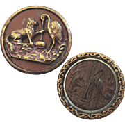 """Two Antique Victorian Metal Picture Buttons Aesop's Fables Fox and Crane Wood Inlay 1 1/16"""""""