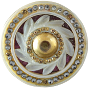 """Antique Georgian Carved Openwork Mother of Pearl Red Foil Paste Button - a hair under 1 1/16"""""""