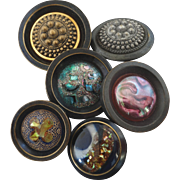 """Six Large Antique Victorian DUG Design under Glass and Metal Buttons - up to 1 3/4"""""""