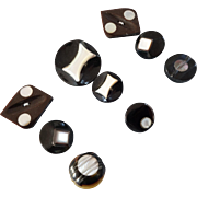 """A Card of 9 Carved Black Casein Mother of Pearl Buttons - up to 1 1/8"""""""