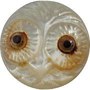 """Small Antique Victorian Carved Mother of Pearl Owl Button with Glass Eyes 1/2"""""""