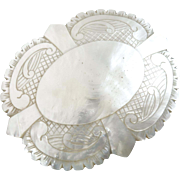 "X-Large Antique Carved Mother of Pearl Belt Buckle 4 1/8"" to 3 1/4"""