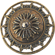 "X-Large Antique Victorian Openwork Metal Cut Steel Button 1 3/4"""