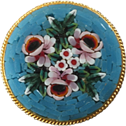 "Italian Micro Mosaic Metal Button 15/16"" Bouquet of Flowers"