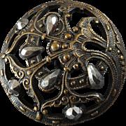 """Antique Victorian Openwork Metal Cut Steel Button 1"""""""