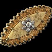 "Large Antique Victorian Metal Celluloid Composite Button Spindle Shape - just under 1 7/16"""