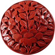 Large Antique Elaborately Carved Chinese Cinnabar Button Peony 1 1/2""