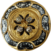 """Antique Victorian Black and White Lacquered Gilded Metal Paste Button  - a hair under 1 1/4"""""""