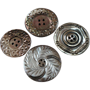 """Four Large Antique Victorian Carved Mother of Pearl Buttons - up to 1 3/4"""""""
