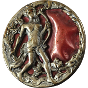 Antique Victorian Metal Picture Diana Button with Red Celluloid Inlay - just under 1""