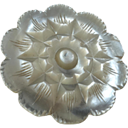 """Antique Victorian Carved Mother of Pearl Button Flower 1 1/16"""" - chipped"""