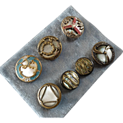 """A Card of 7 Antique Victorian Metal Buttons with Mother of Pearl Inlay - up to 7/8"""""""