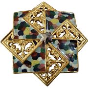 """Antique Openwork Multicoloured Lacquered & Gilded Metal Button Cut Steel 1 1/16"""" Wind Rose Compass Rose"""