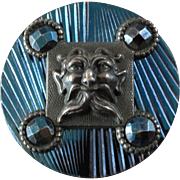 Large Antique Victorian Blued Steel Button Faun's Mask 1 1/4""