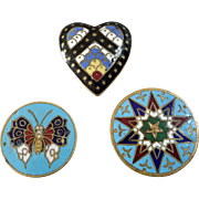 Three Antique Victorian Champlevé Enamel Lapel Stud Buttons Star Heart Butterfly  - up to 15/16""