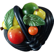 Marion Weeber Colourful Basket of Fruit Celluloid Button 1 1/8""