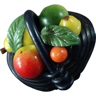 """Marion Weeber Colourful Basket of Fruit Celluloid Button 1 1/8"""""""