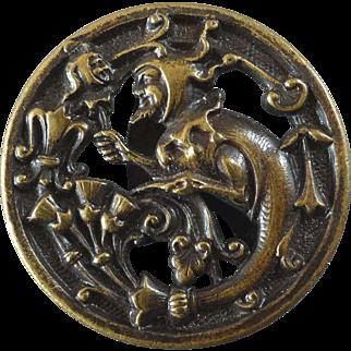 "Antique Victorian Jester Metal Picture Button Albert Parent 1 1/16"""