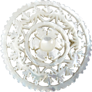 """Large Jordan Pearl Button Bethlehem Holy Land Carved Openwork Mother of Pearl 1 5/16"""""""