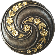 "Antique Victorian Partially Gilded Metal Button Flower Garland 1 1/16"""